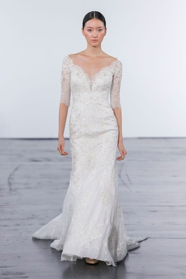 Dennis Basso for Kleinfeld 2018 collection wedding dress three quarter sleeve gown lace v neck