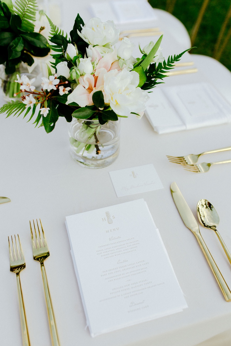wedding reception place setting gold flatware fork knife spoon menu with pineapple monogram hawaii