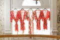 Bride's long robe and bridesmaids' getting ready robes red pink peach style flower robe