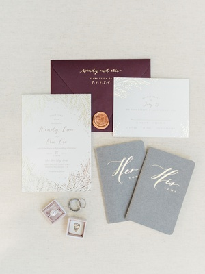 wedding invitation suite gold foil invitation oxblood burgundy maroon menu gold wax seal his hers