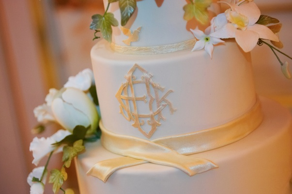 White wedding cake with ribbon details and monogram