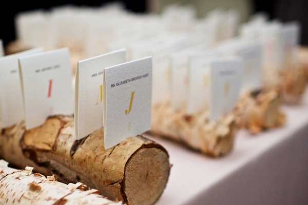 Ivory seating assignments at wedding in rustic birch branch