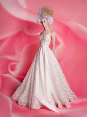 Isabelle Armstrong Spring 2019 collection v neck ball gown with sash and spaghetti straps