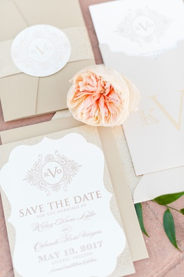 Invitation suite save the date card with monogram custom on top garden rose belly band