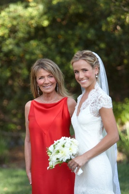 Bold sleeveless red mother of bride dress