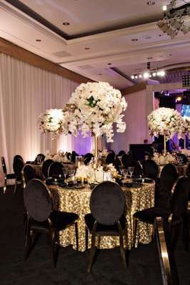 wedding anniversary party reception white rose orchid flowers gold sequin linen black velvet gold