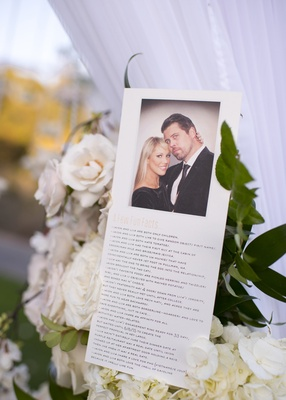 ceremony program with fun facts about the bride and groom