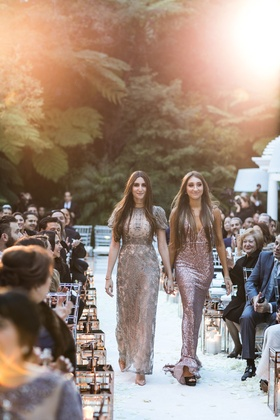 Wedding outdoor Bel-Air gold lanterns on white aisle runner bridesmaids in mismatched metallic gowns