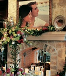 Framed photos of the bride and groom decorate the reception