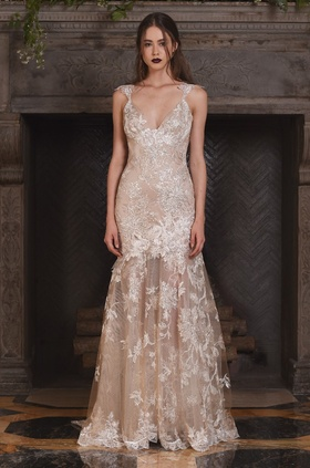 Claire Pettibone Four Seasons Couture Collection Noel lace v-neck mermaid bridal gown