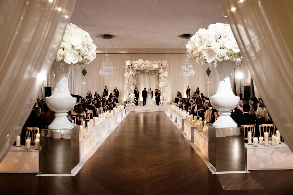 chicago ballroom wedding ceremony indoor white run white flowers chuppah candles custom boxes wood