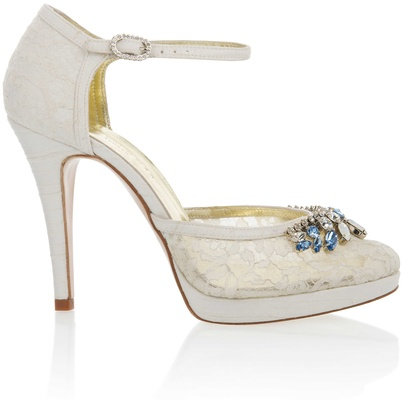 199fcb99c65 Freya Rose Violet lace wedding shoe with blue jewels on toe and ankle  strap.