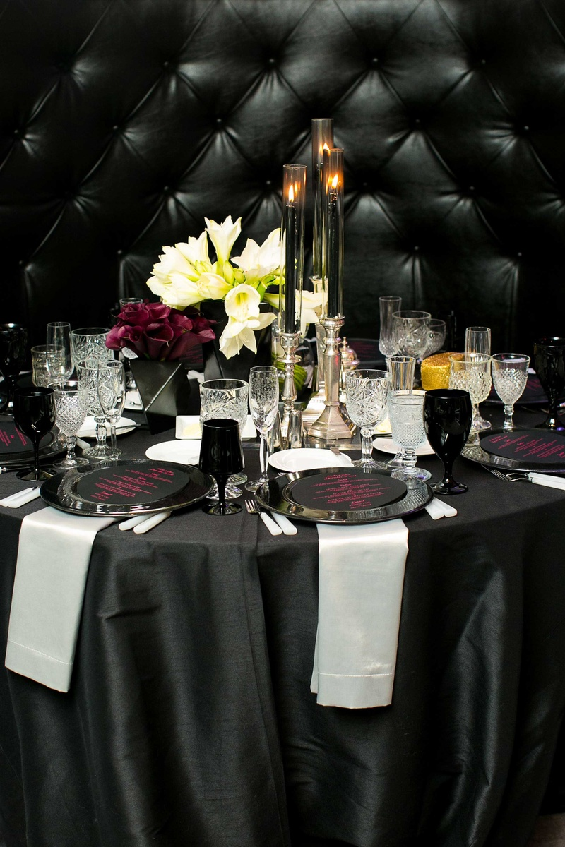Festive new year39s eve wedding with surprises in beverly hills new years eve wedding black and white linens plum calla lilies white amaryllis malvernweather Image collections