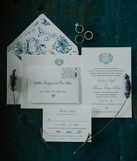 wedding invitation blue monogram and blue white flower envelope liner
