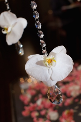 Wedding place card table with crystal strand & white phalaenopsis orchid