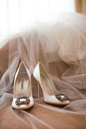 White Manolo Blahnik wedding heels