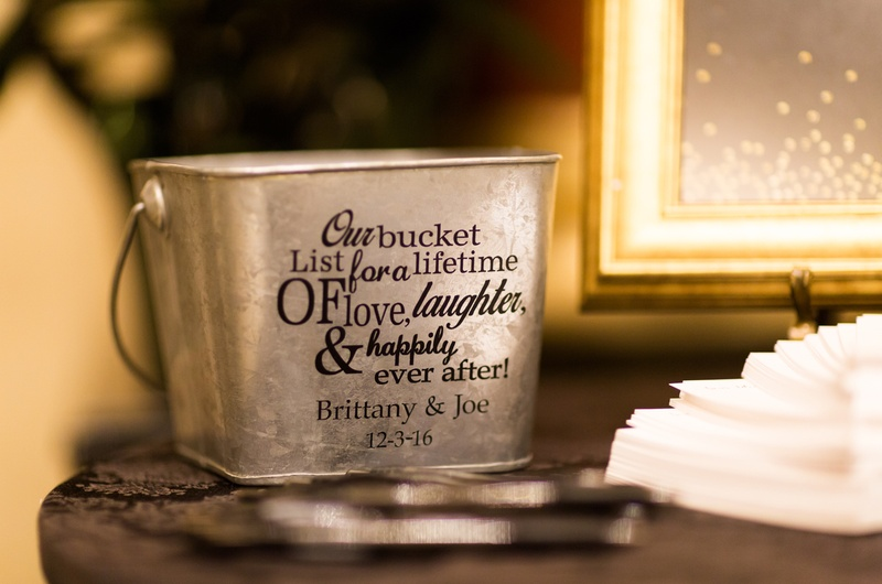 bucket for bucket list notes from guests at wedding