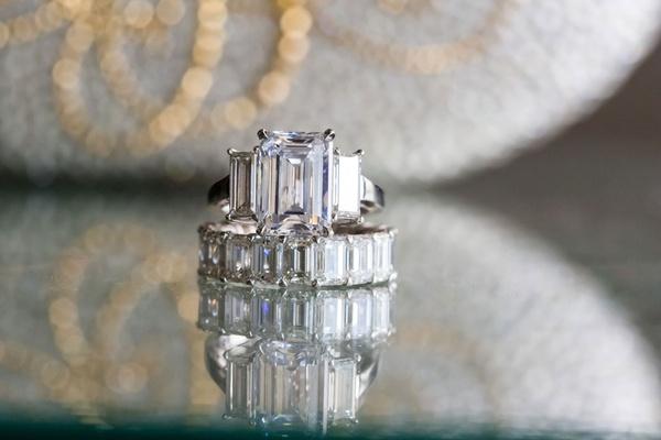 three stone emerald-cut engagement ring, emerald-cut diamond eternity band