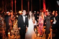 bride and groom leaving ceremony, evening ceremony, candlelit décor on aisle