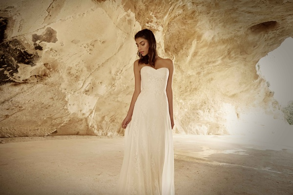 Limor Rosen 2017 Lihi wedding dress strapless corset bodice with silk chiffon and lace skirt Tribal
