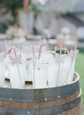 San Ysidro Ranch famous lemonade in glasses with pink straws and butterfly decals with lavender