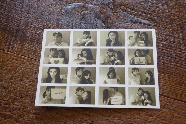 Save the date postcard with black and white photos of the bride and groom