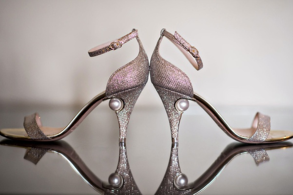 Wedding day shoes heels with pearl in heel metallic silver glitter sandals strap nicholas kirkwood