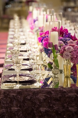 purple textured rose-style pattern linens for wedding reception