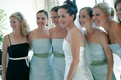 Bride with bridesmaids in strapless dresses