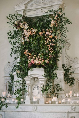 vibiana altar with greenery and lots of candles