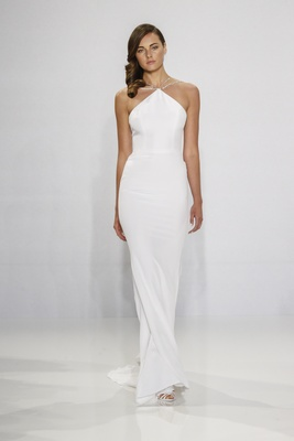 Christian Siriano for Kleinfeld Bridal halter wedding dress with multiple straps