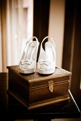Stuart Weitzman bridal platform shoes