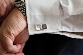 Locket-style men's cufflinks with photos of grandma
