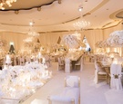 opulent beverly hills hotel wedding with ivory and gold palette, candles