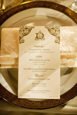 Dinner menu card with gold design and wedding monogram