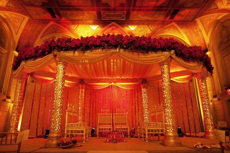 ceremony décor photos red and gold mandap inside weddings