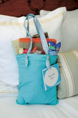 blue bag filled with wedding favors