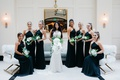 bridesmaids in black halter hayley paige bridesmaid dresses, bride in maggie sottero wedding dress
