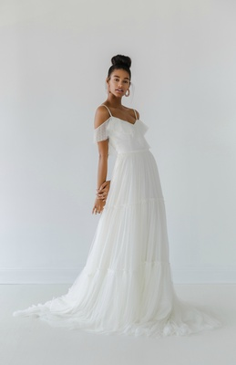 07a7e54243c1 Ivy & Aster Fall 2018 soft net dress, delicate ruffle off-the-shoulder