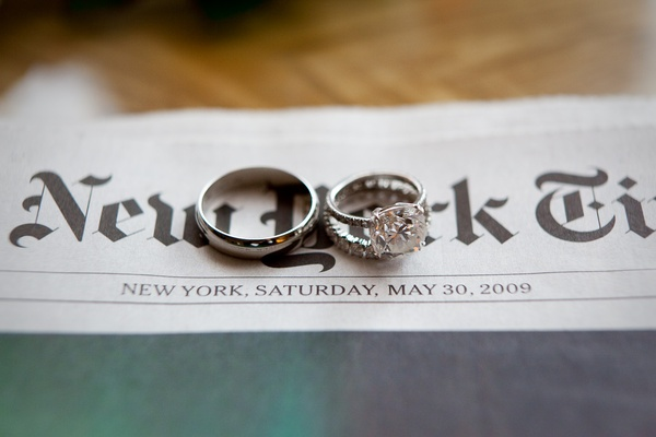 Engagement ring on New York Times with date