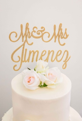 custom cake topper names in gold flower simple white cake small