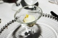 Sugar rimmed martini glass on beaded charger