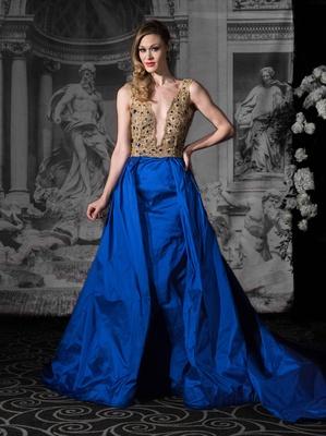 Sarah Jassir La Dolce Vita 2016 Deep V Neck Gold And Blue Ball Gown Wedding