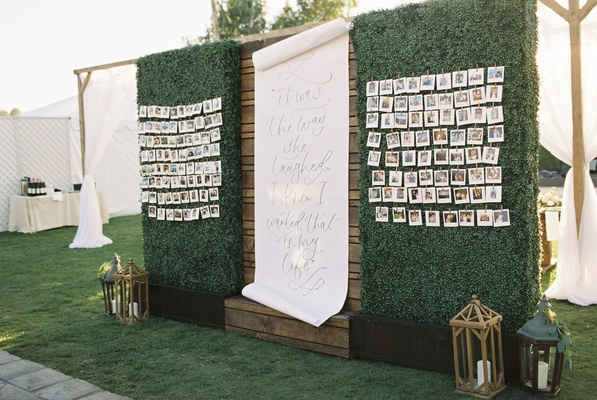 wedding seating chart with photos and quote from R.M. Drake