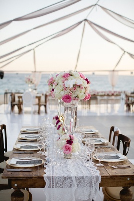 Wood table lace runner wedding reception Barbie Blank Sheldon Souray high and low white pink flowers