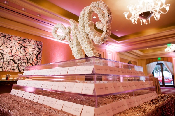 escort card table W in blooms calligraphy place cards names guests classic dallas wedding blush