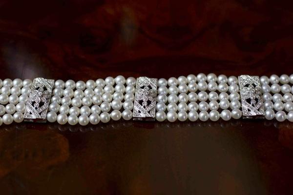 Wedding day jewelry five strand pearl bracelet