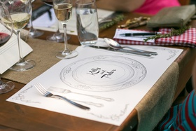 Bridal shower placemat with drawings of place setting