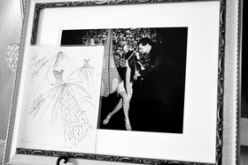Black and white photo of wedding dress sketch