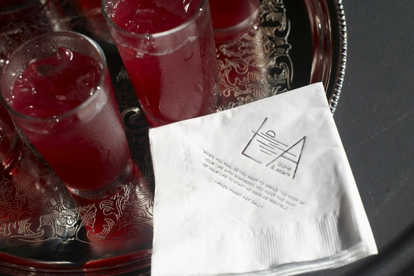 Custom cocktail napkin with hibiscus lemonade